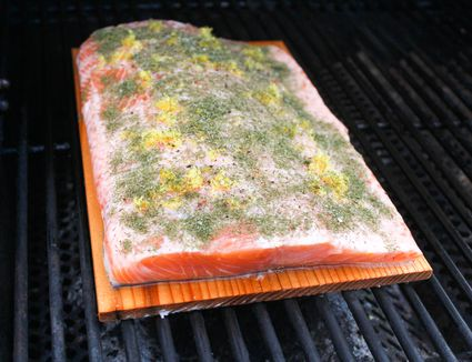 Place plank on grill