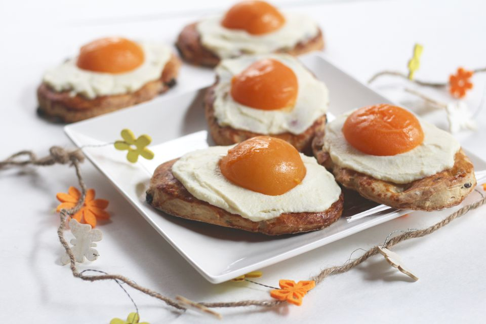 Raisin Flat Breads Smeared with Lemon Scented Cream and Topped with an Apricot