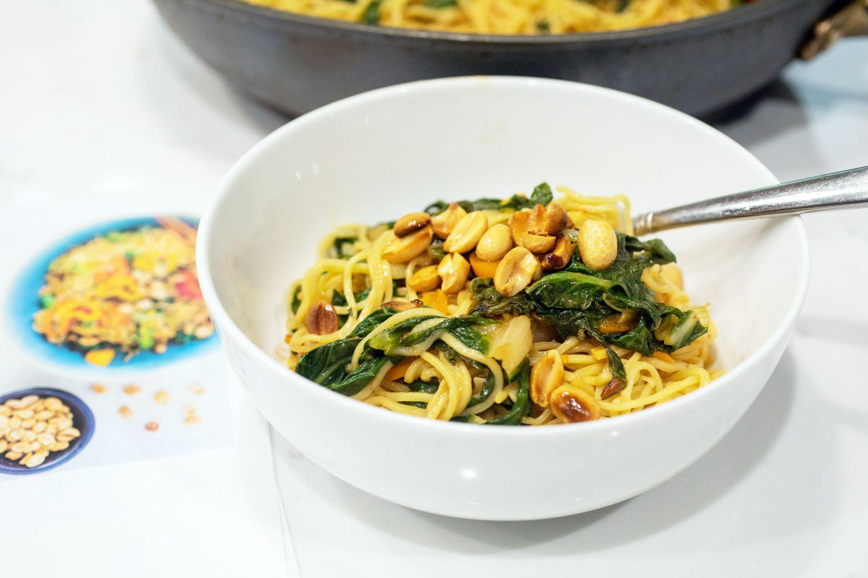 Purple Carrot noodles in bowl