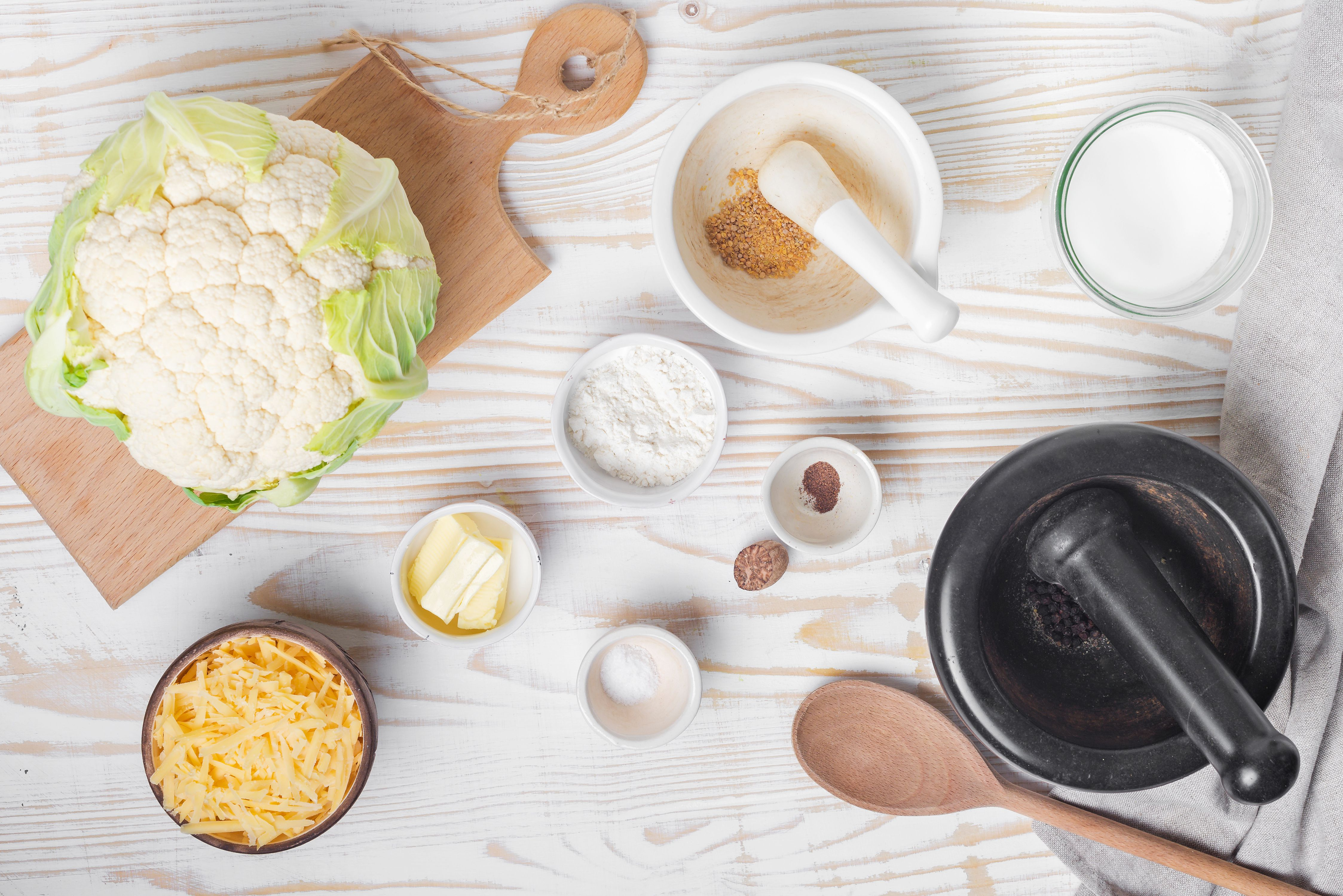 Ingredients for cauliflower with cheese sauce