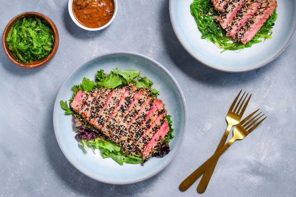 Grilled tuna steaks with Asian sesame crust recipe