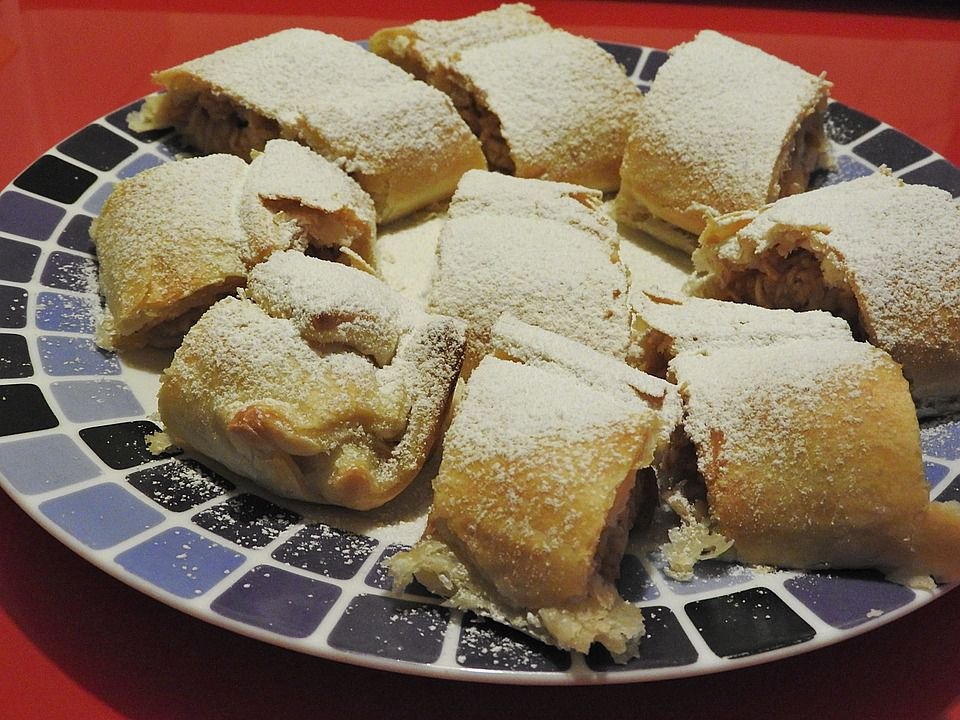 Apple strudel cut in pieces on plate