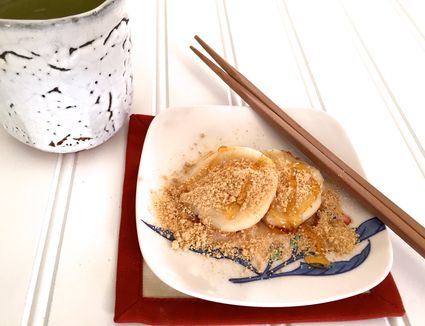 Tofu Mochi (Rice Cakes) with Sweet Roasted Soy Bean Flour (Kinako)