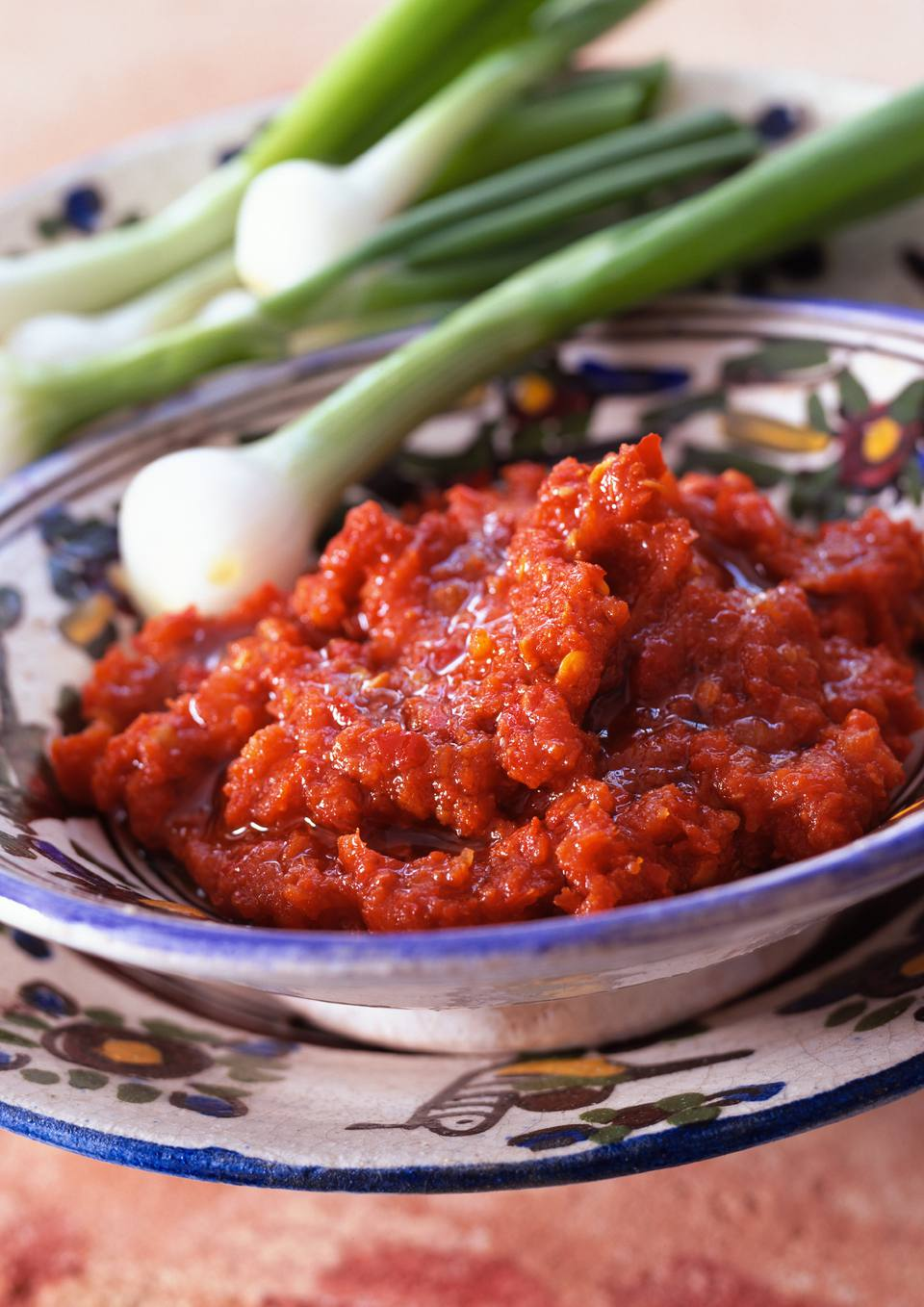 Harissa in bowl with spring onions in background