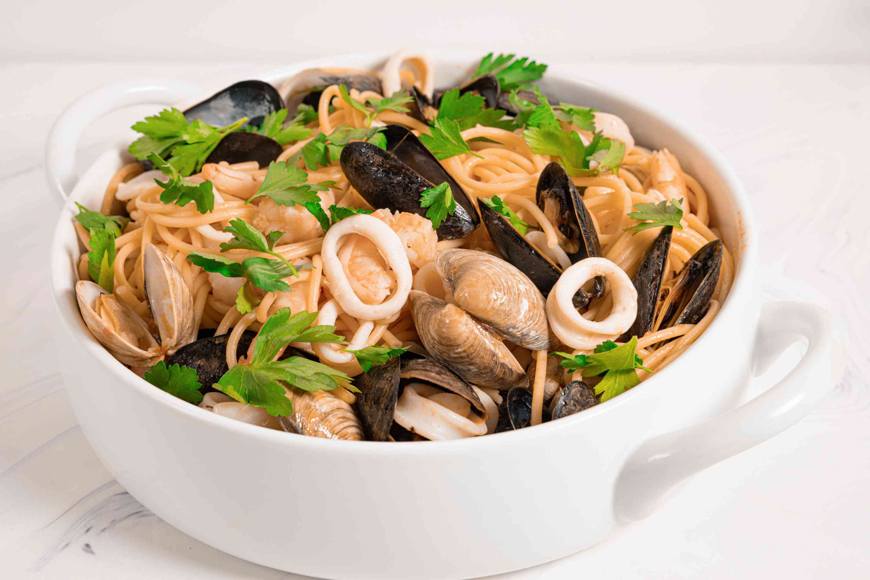 Pasta With Mixed Seafood (Pasta alla Posillipo) in a bowl