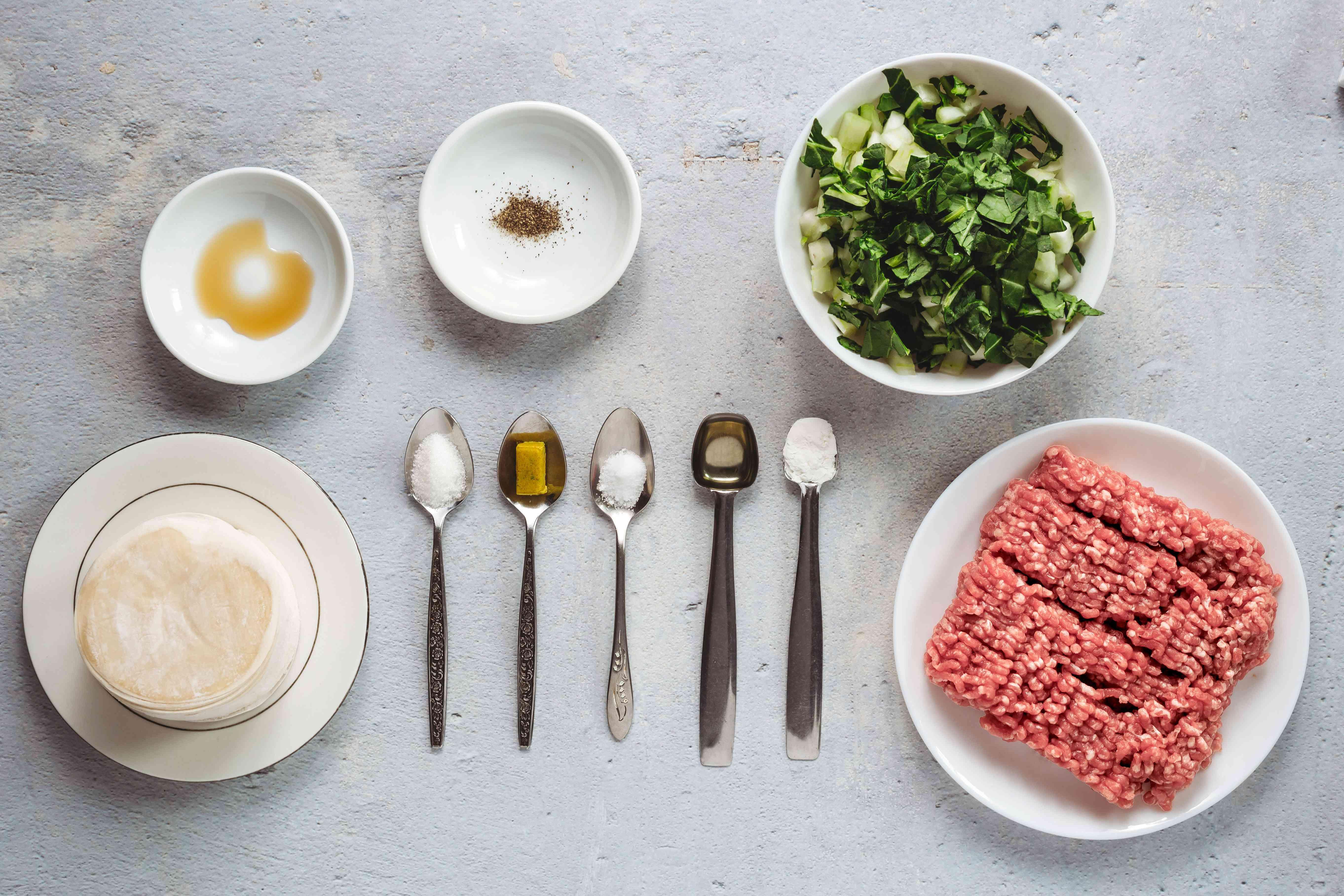 Ingredients to make potstickers