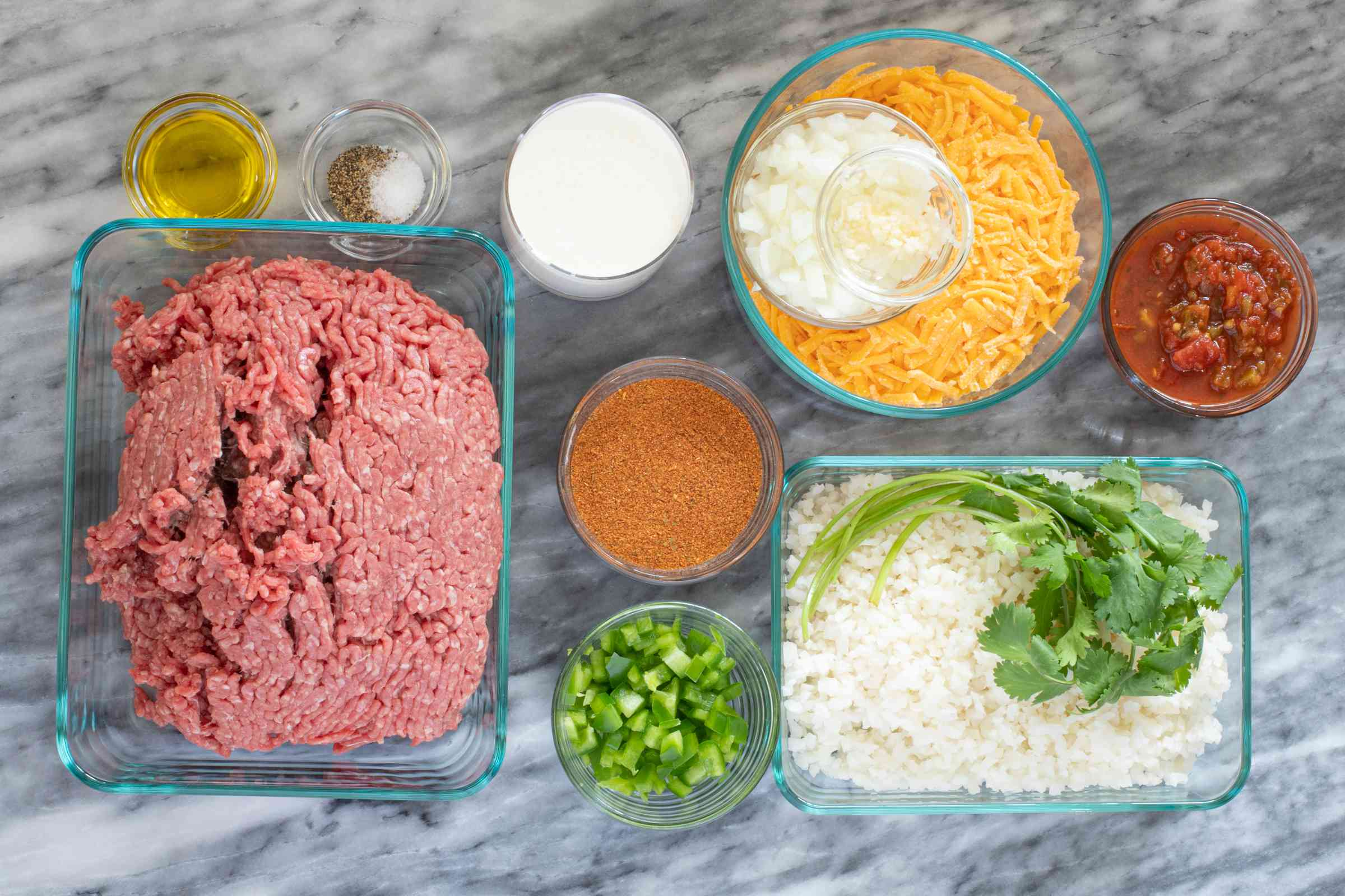 Ingredients for a keto taco casserole.