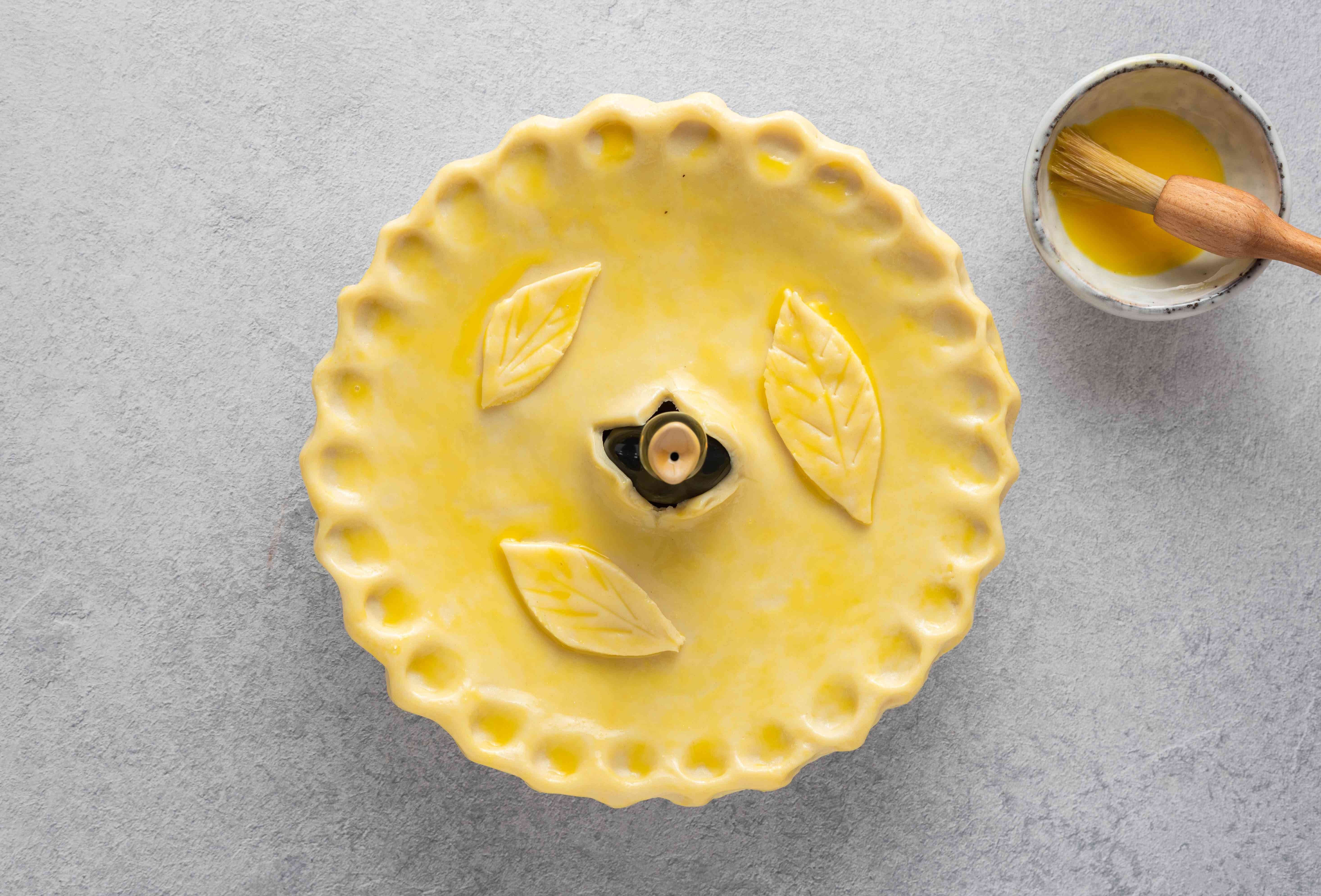 pastry top brushed with beaten egg