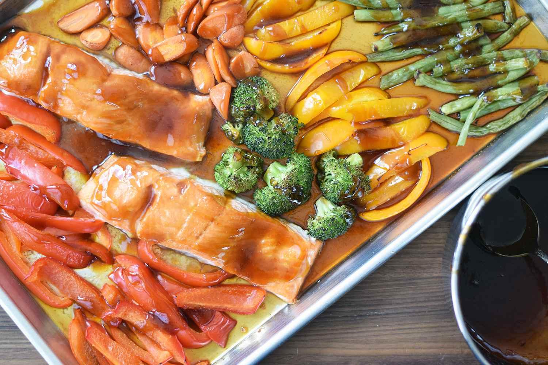 Sheet pan salmon teriyaki and vegetables