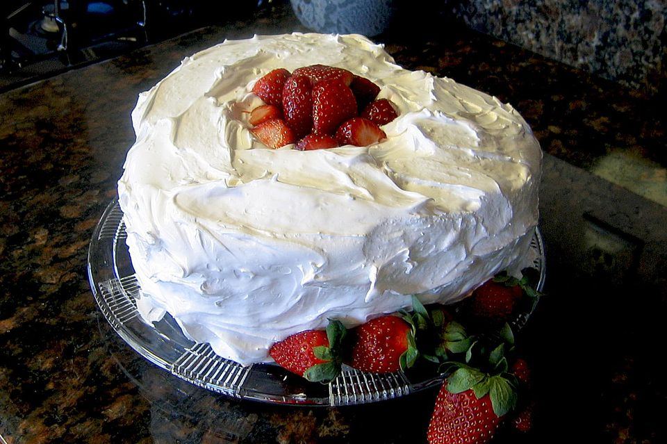 Frosting on angel food cake