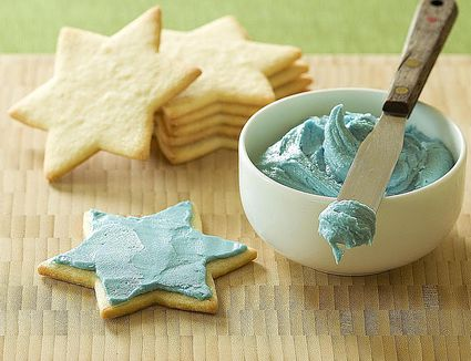 Sugar cookies with blue frosting