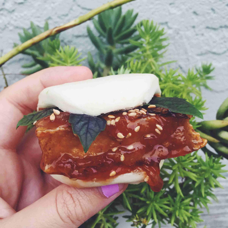 Sesame Orange Tofu Steamed Buns with Opal Basil