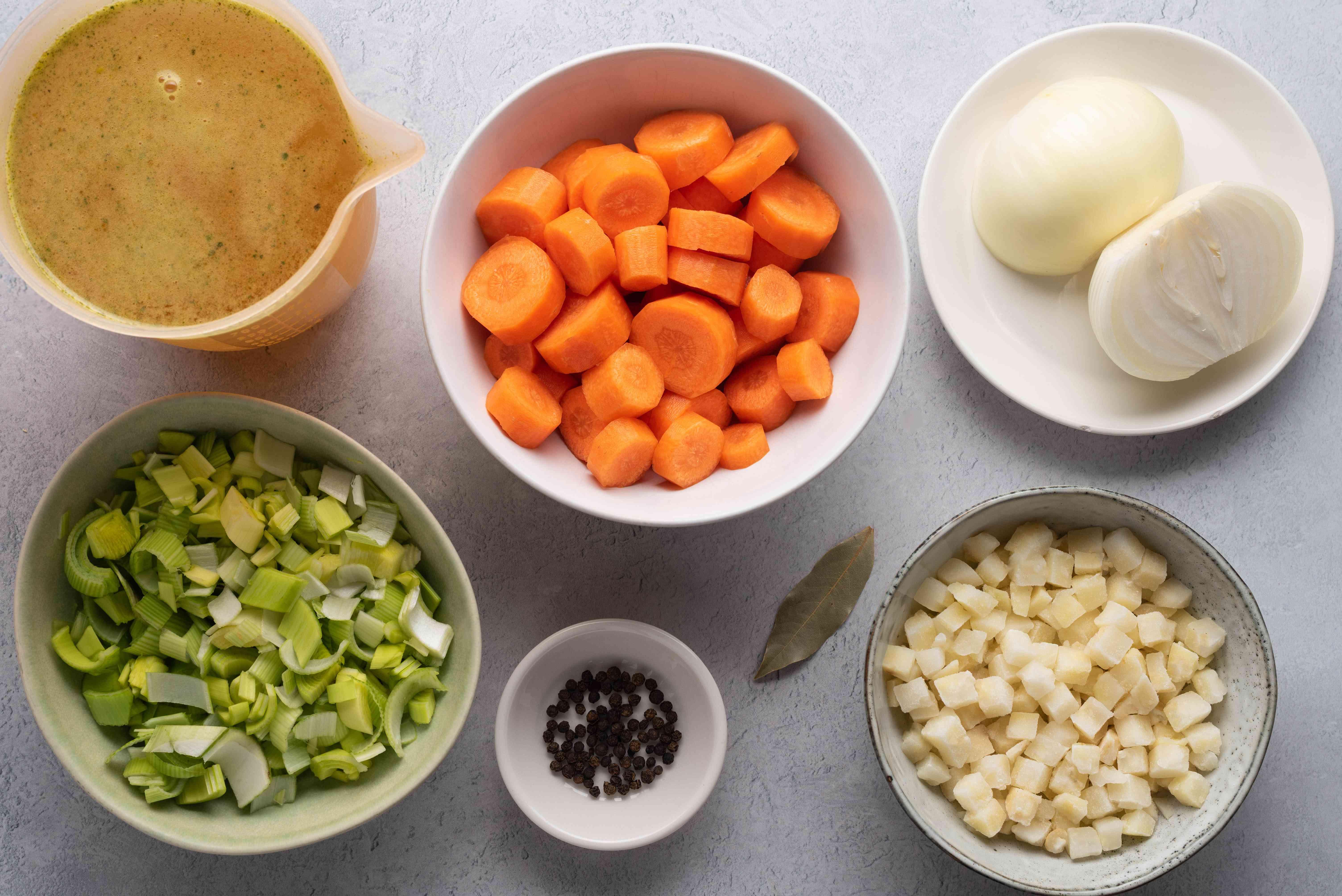 Broth ingredients for German meat fondue