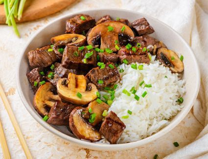 Grilled hibachi steak recipe with rice in a bowl