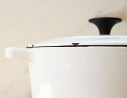 Close up of white dutch oven