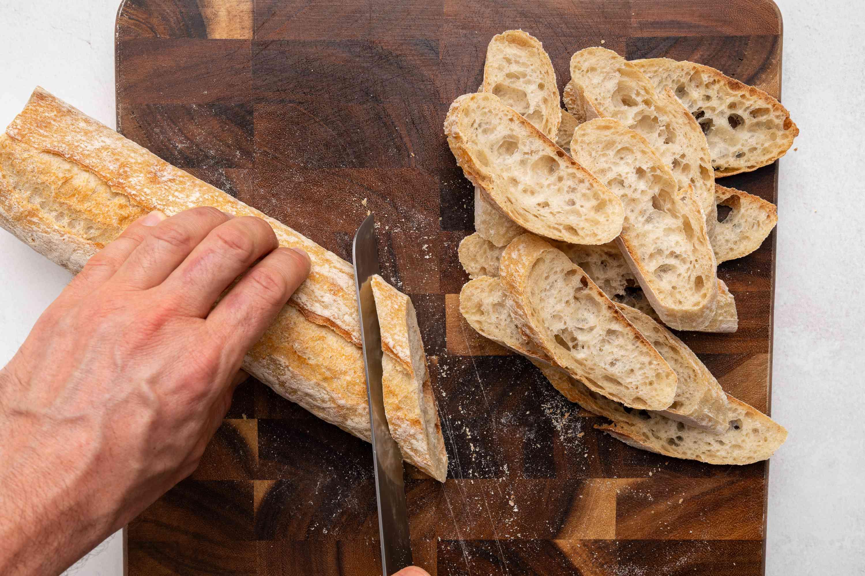 bread slices on a cutting board