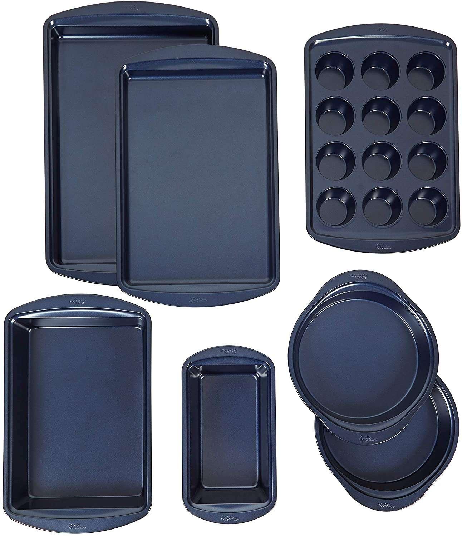 Wilton Diamond-Infused Non-Stick Navy Blue Baking Set, 7-Piece