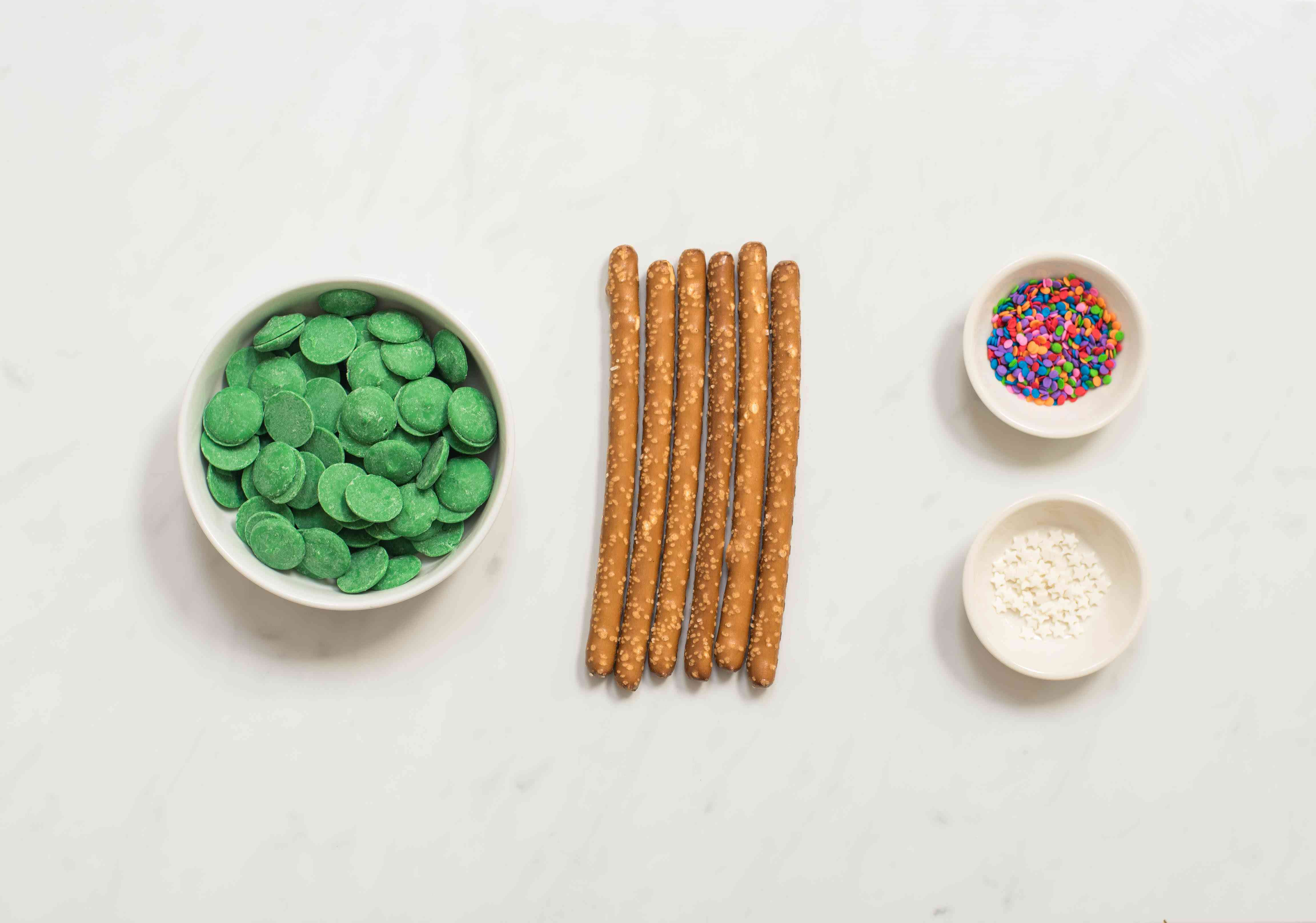 Ingredients for Christmas tree pretzels rods