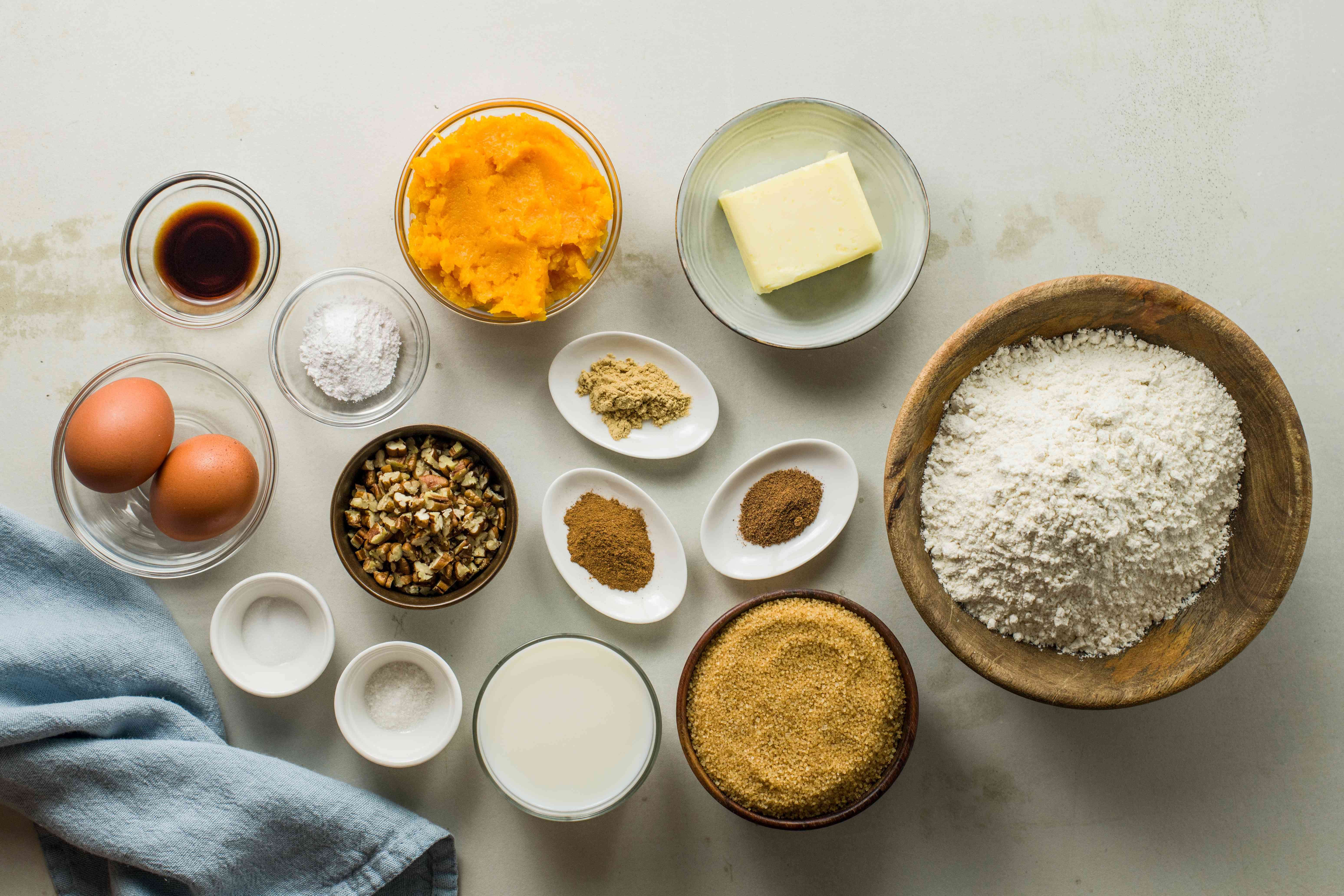 Ingredients for butternut squash cupcakes