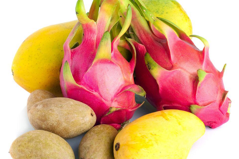 Pitaya, kiwi, and mangoes