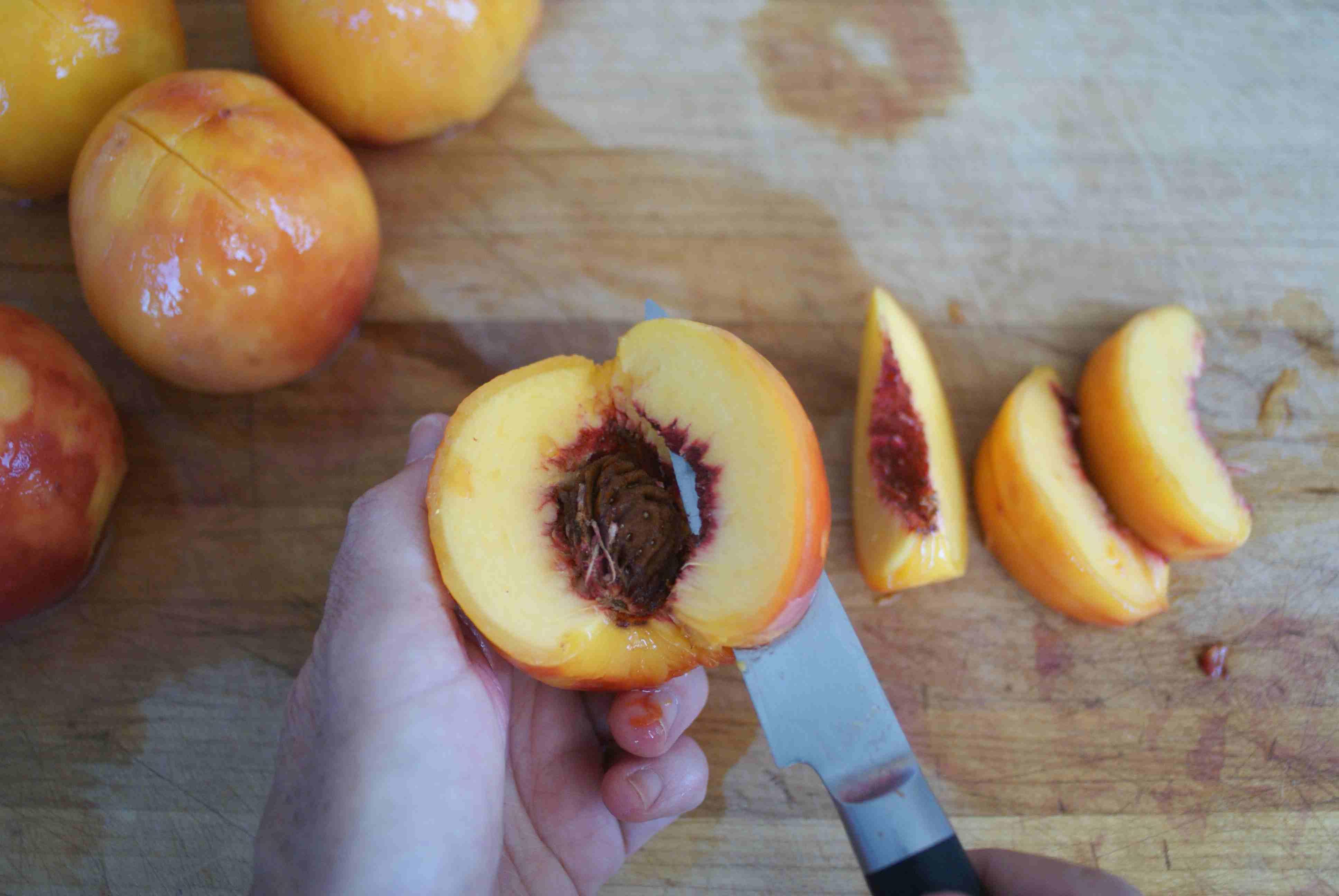 Slicing a Peeled Peach