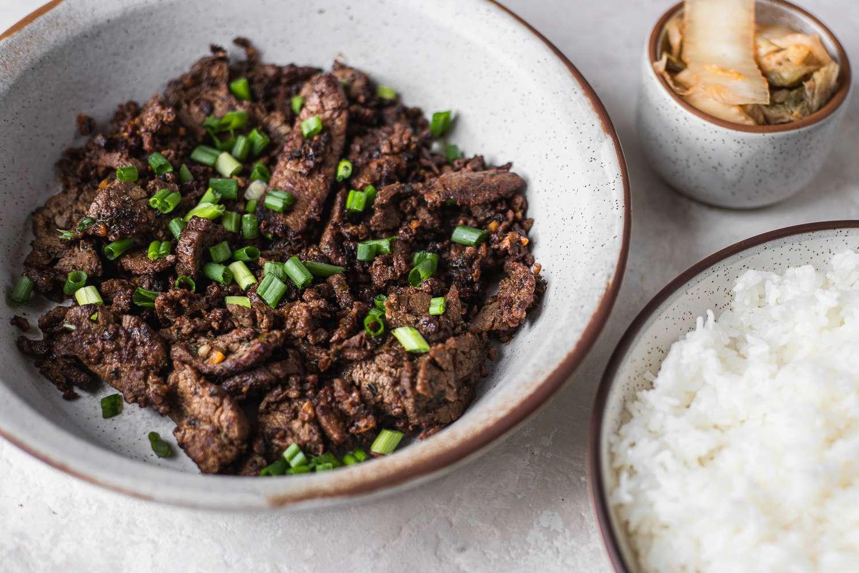 Korean Beef Bulgogi served with kimchi and rice