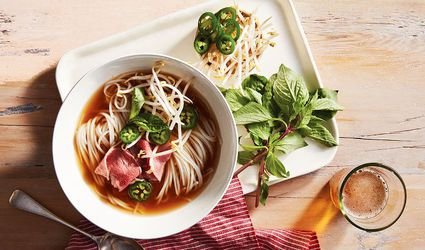 Beef pho with rice, noodles, and basil