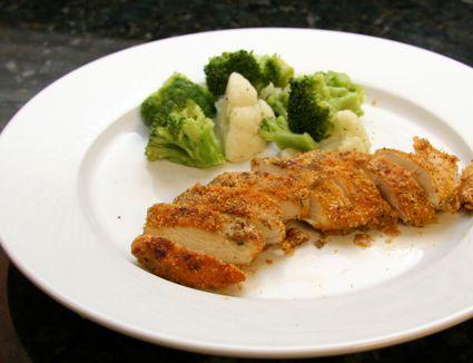 Oven Fried Pesto Chicken