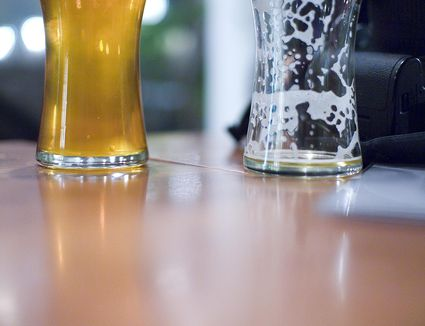 Glasses of beer, full and empty