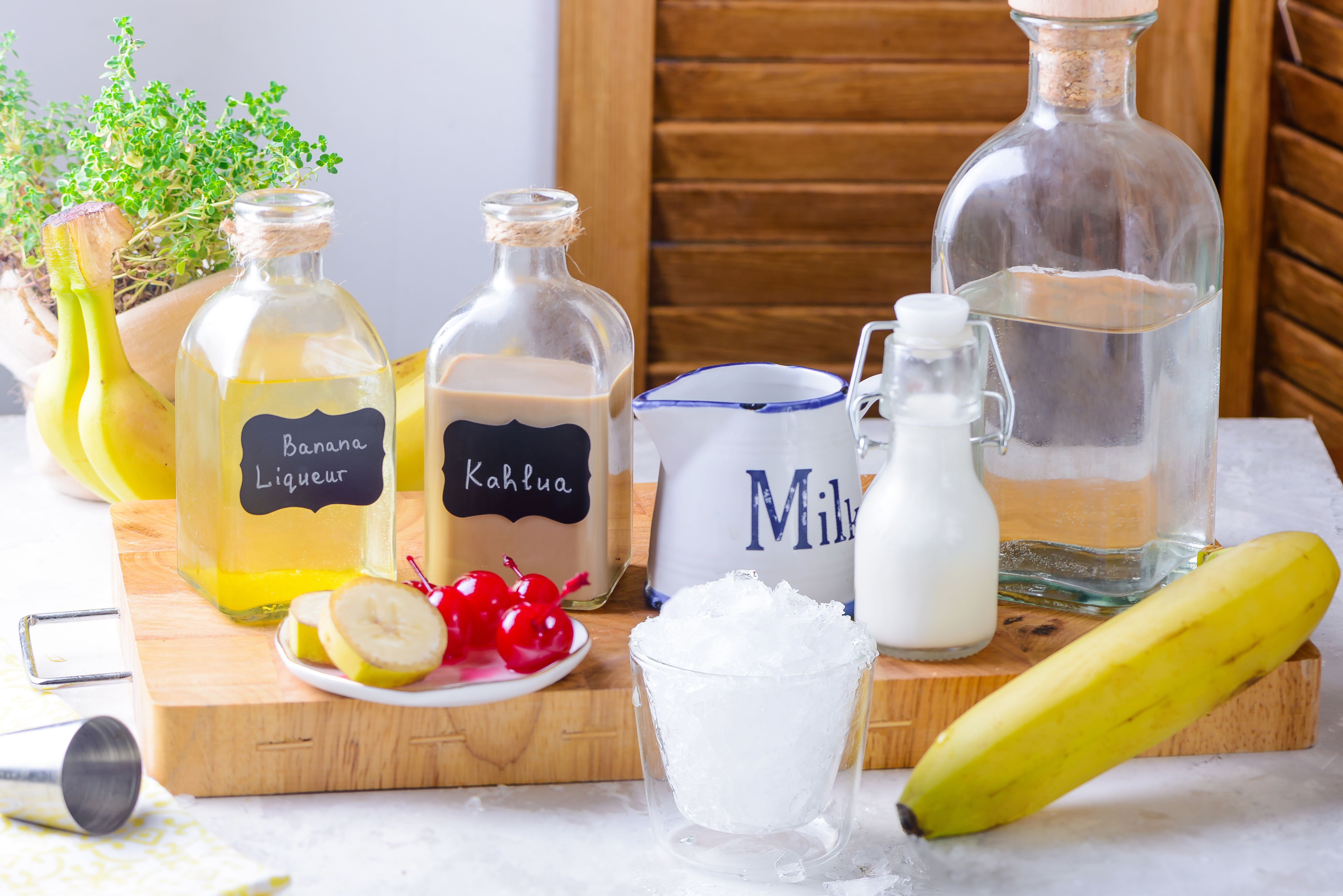 Ingredients for a dirty banana cocktail