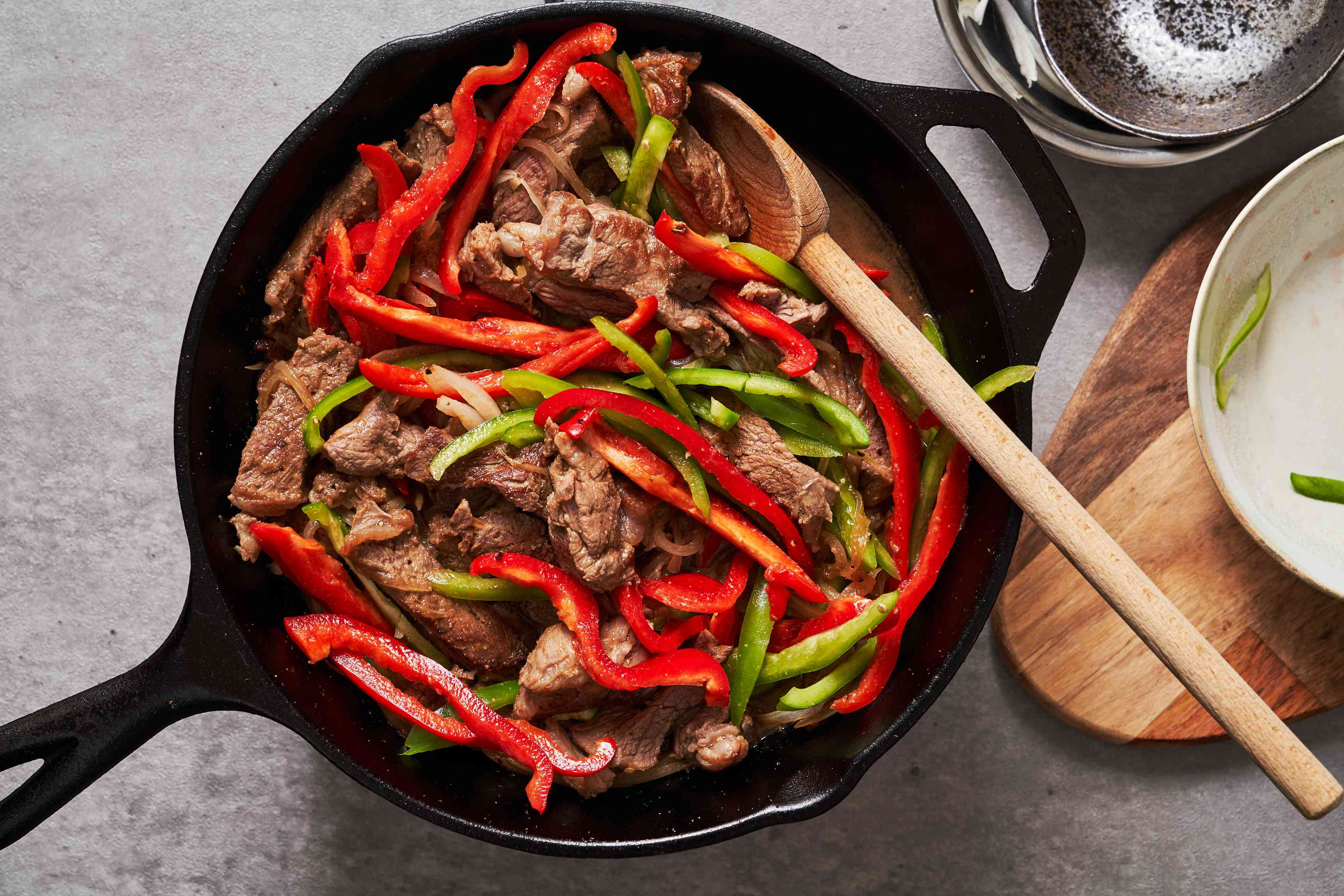 Peppers and steak