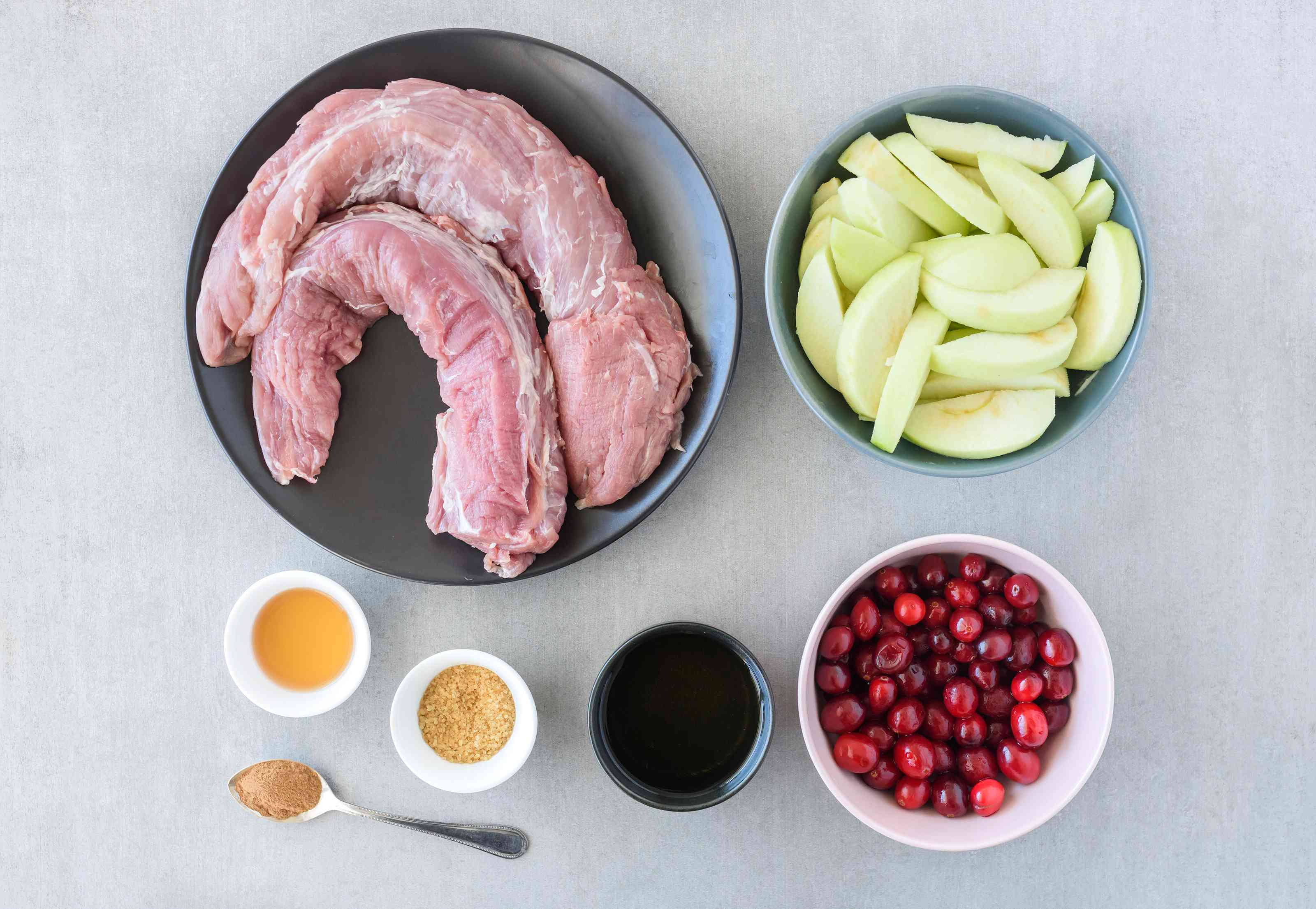 Ingredients for roast pork with apples
