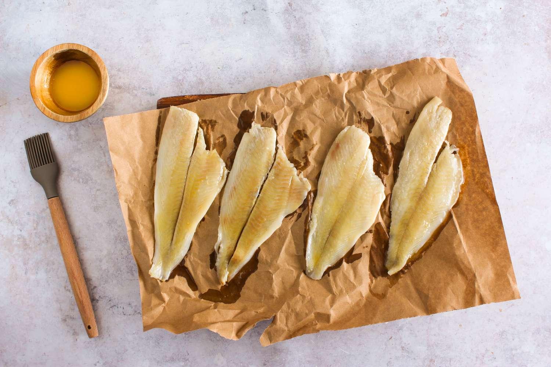 Flounder fillets brushed with butter