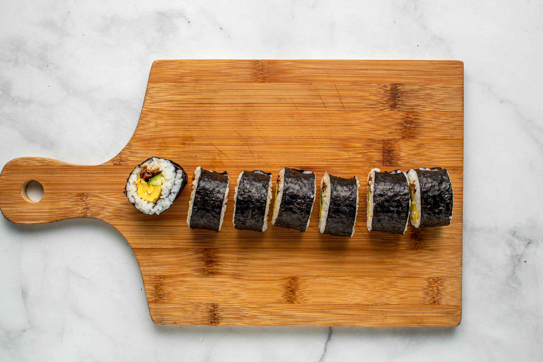 Futomaki Sushi Roll cut into pieces