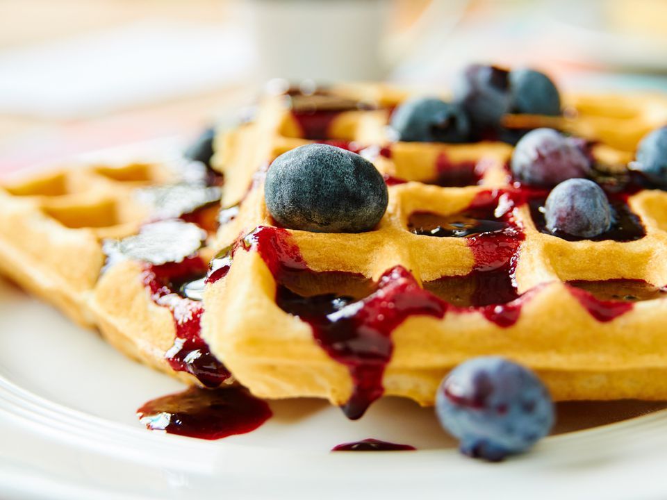 Healthy low-fat waffles with blueberries