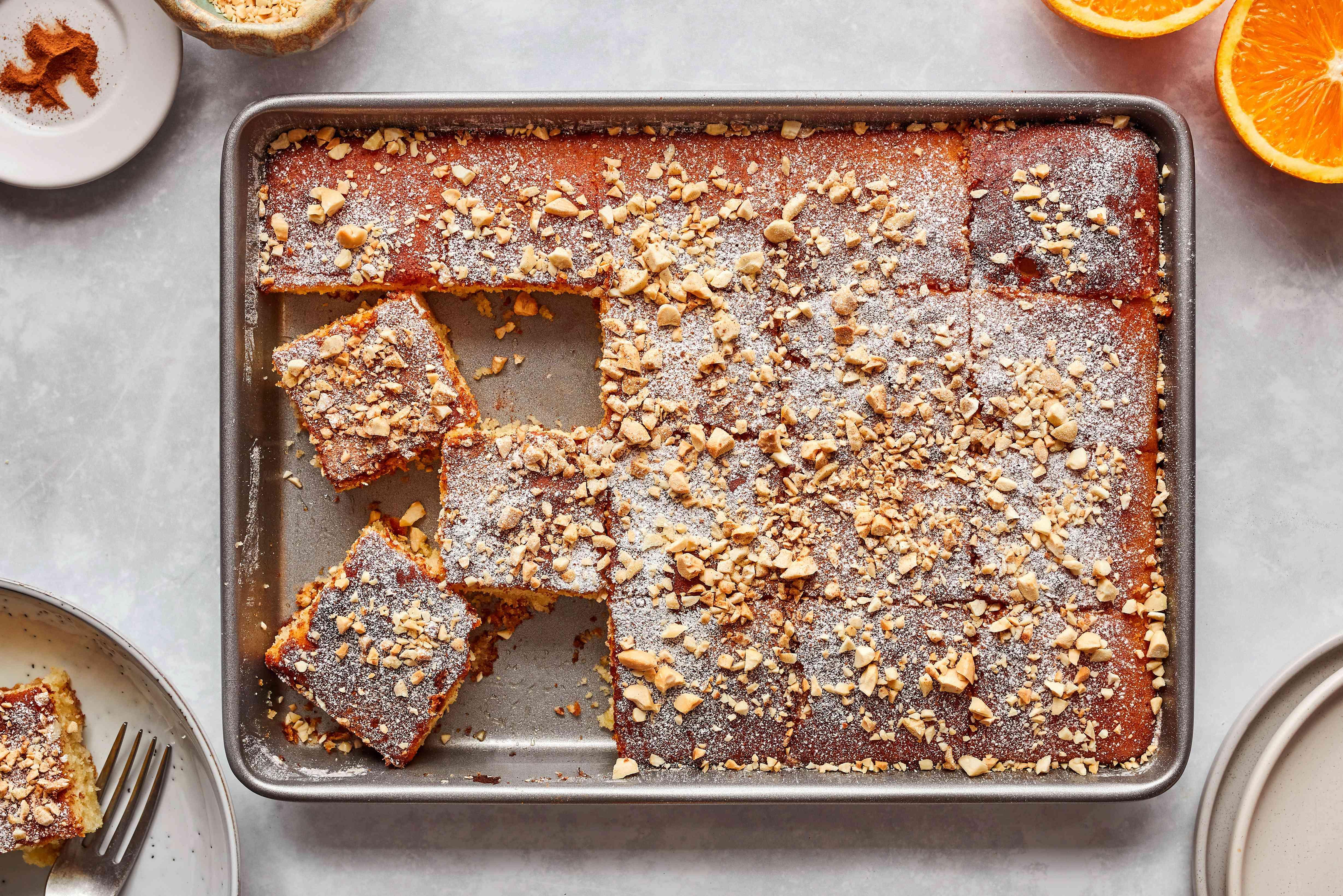 Revani cake with orange syrup
