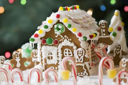 Gingerbread House And Family