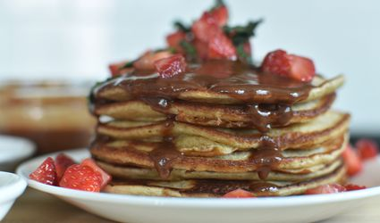 Plantain Pancakes with chocolate syrup
