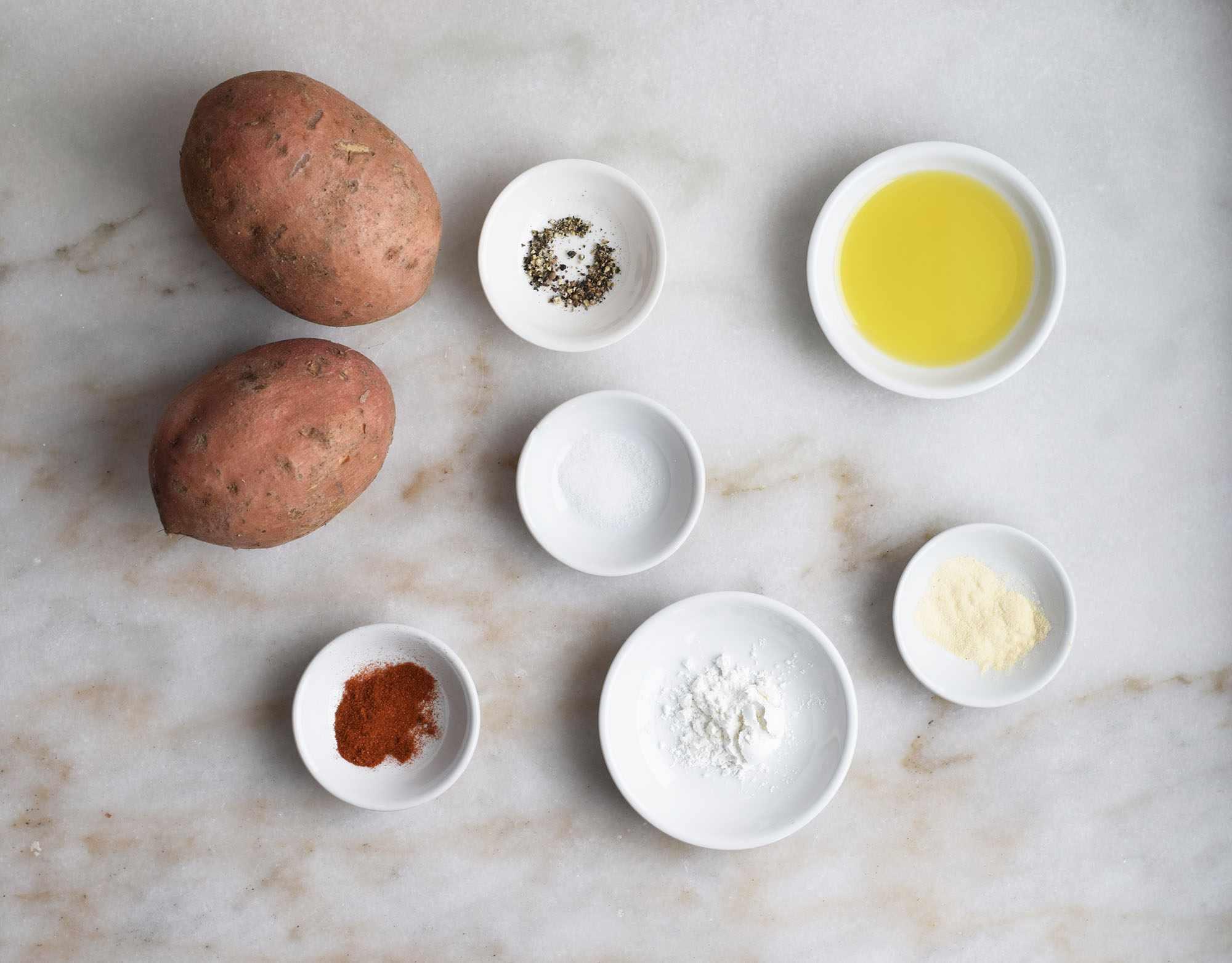 Ingredients for air fryer sweet potatoes