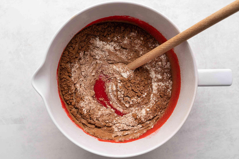 red velvet brownie ingredients in a bowl