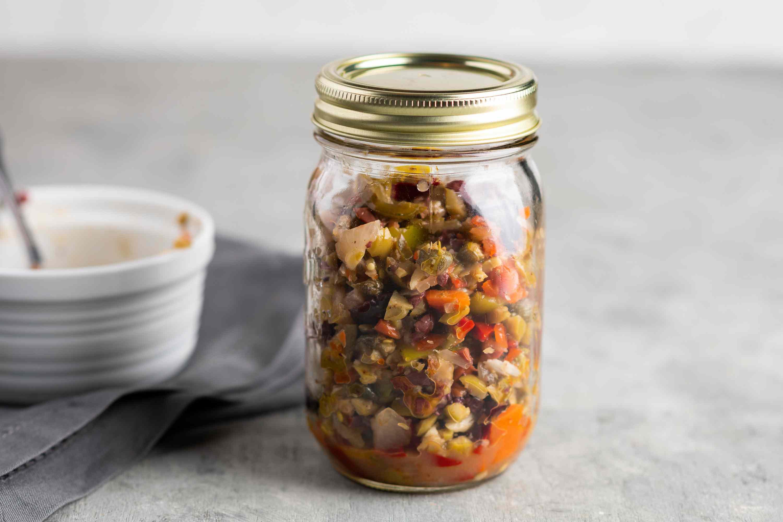 Olive salad for a muffuletta sandwich in a jar