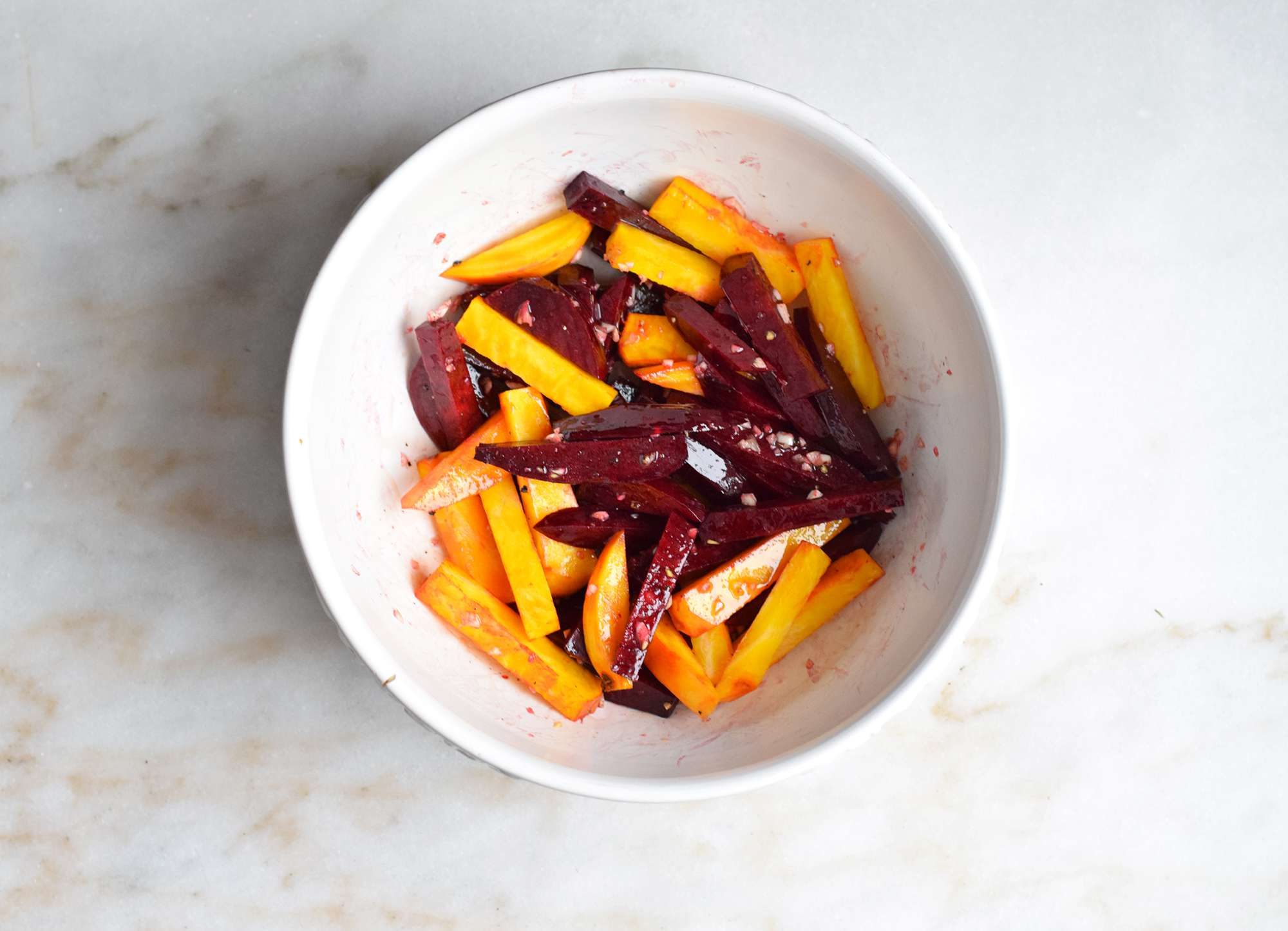 beet fries tossed with olive oil and garlic