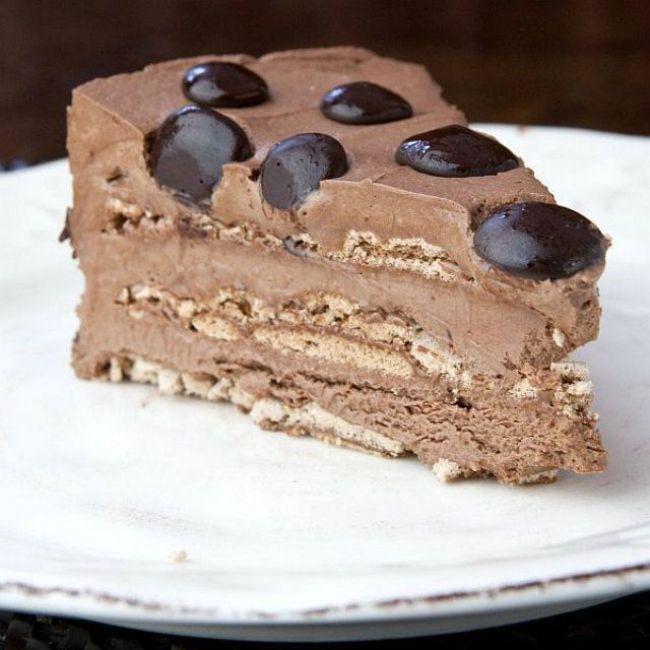 Chocolate Mousse Meringue Layer Cake