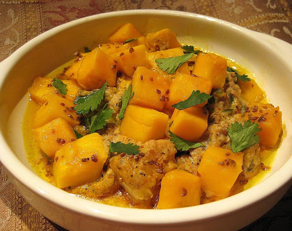 Kerala Cod with Cashew Yogurt Sauce and Fresh Mango