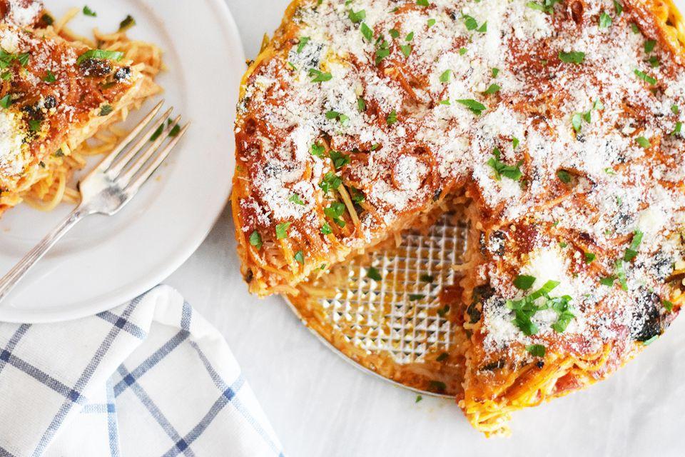 Pizza Spaghetti Pie recipe