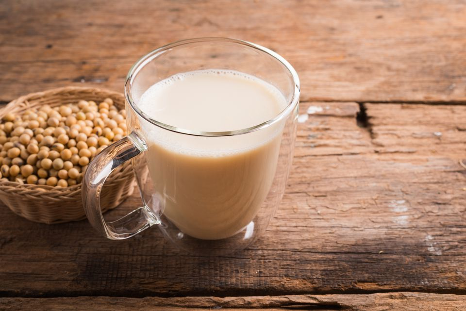Glass with Soy Milk and Seeds