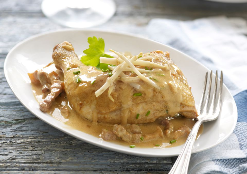 Chicken with poulette sauce
