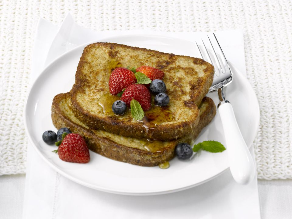 French toast with blueberries and strawberries