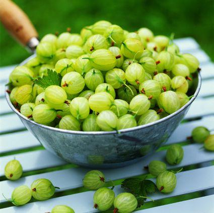 Green gooseberries in a bowl