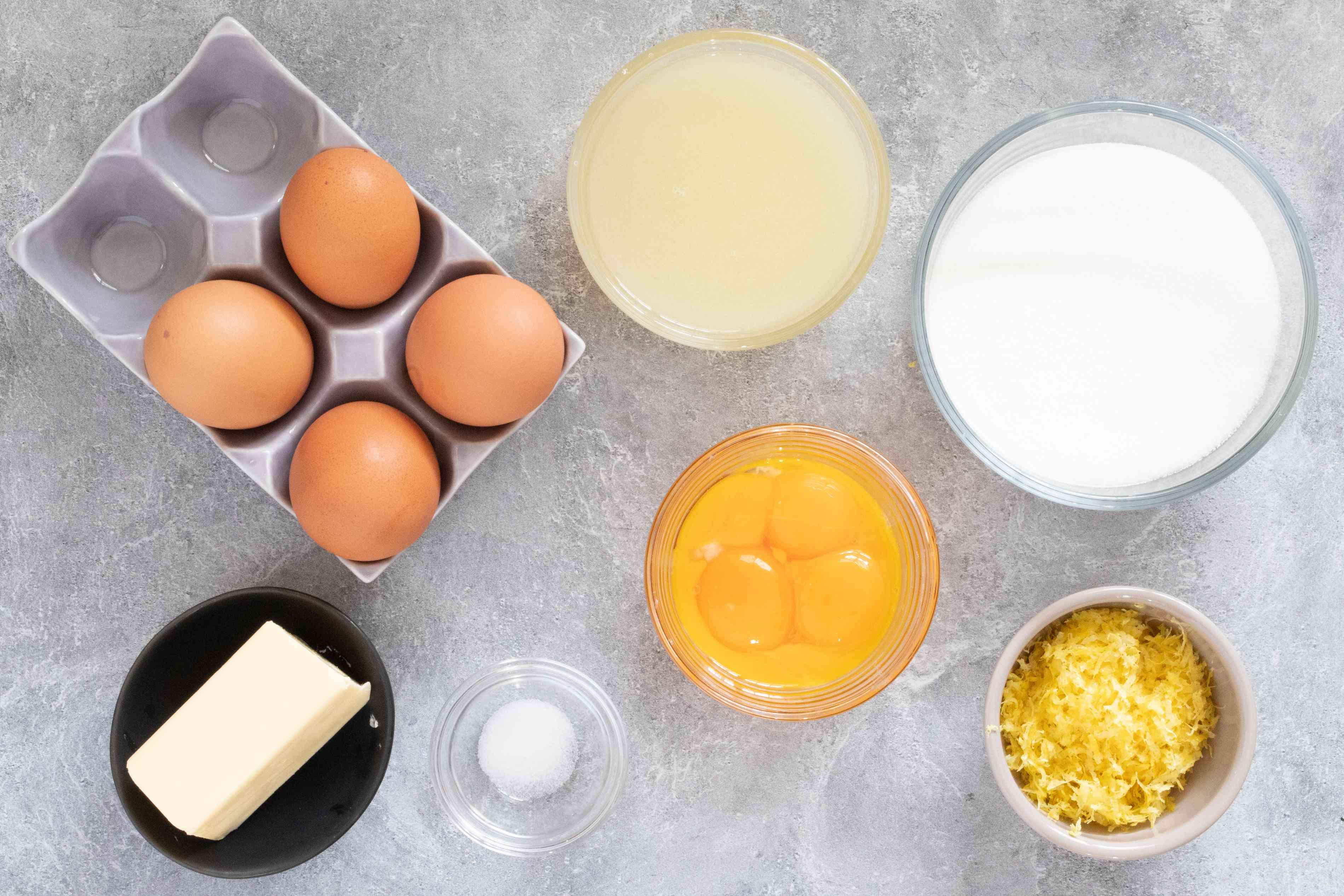 ingredients for lemon curd, doberge cake filling